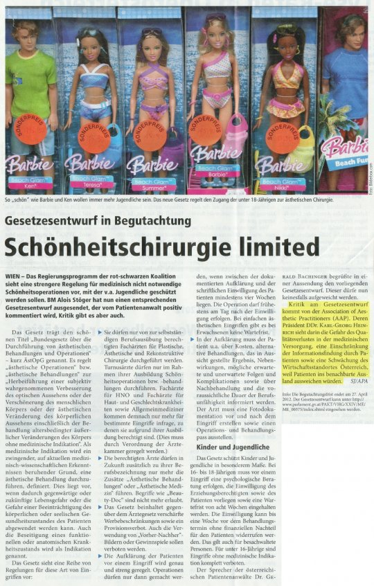 Medical Tribune: Schönheitschirurgie limited